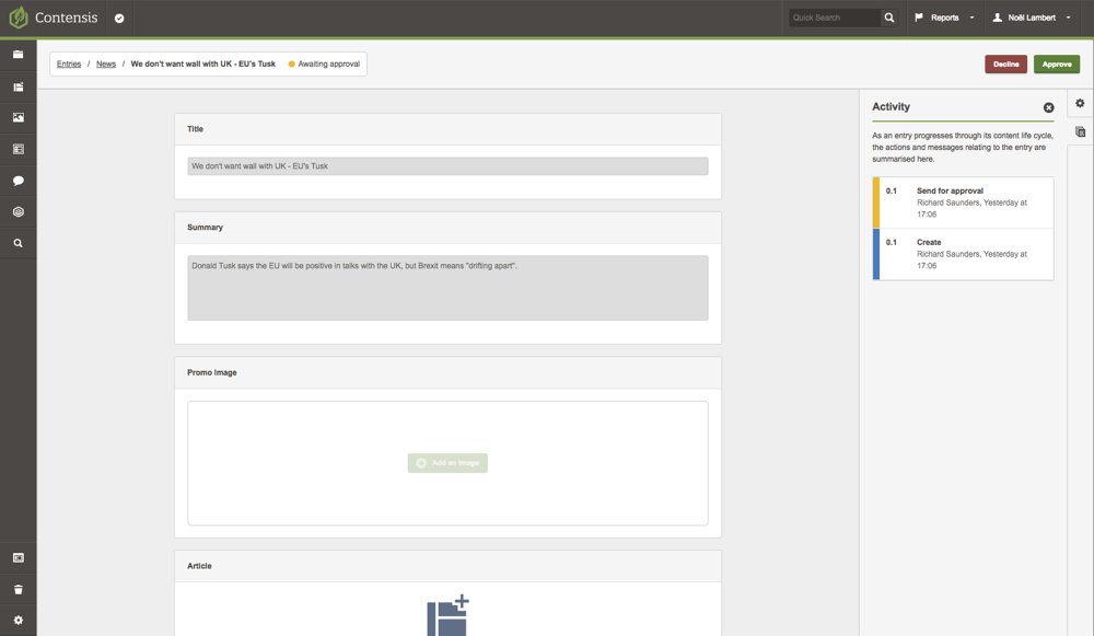 A screenshot of the entry editor showing the actions for a news approver