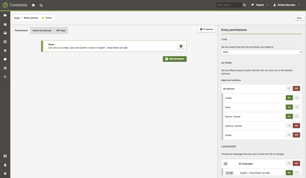 A screenshot of the roles editor assigning an authors permission